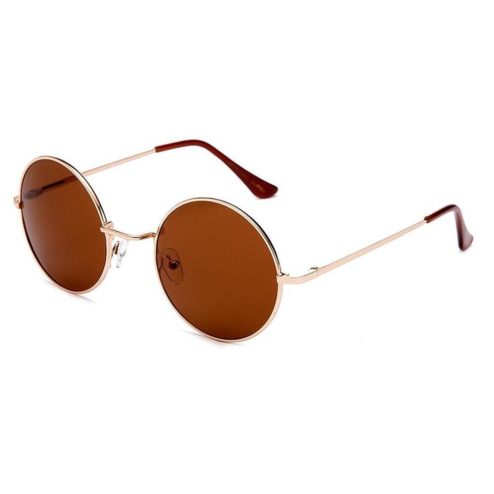 Sunglasses Round Lennon Style/Retro Vintage Eyewear/POLARIZED/Gold/R2317C DGuTmKP