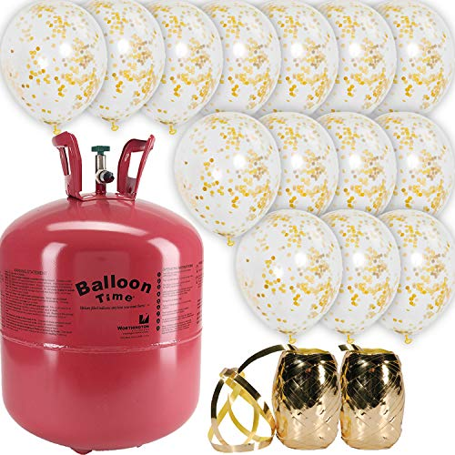 Helium Tank For Balloons (Helium Tank + 18 Gold Confetti 12