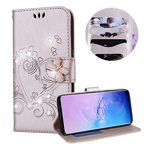 Samsung Galaxy S10 Case,PU Leather Wallet Case for Samsung Galaxy S10,Moiky Luxury Gold 3D Butterfly Bling Rhinestone Embossed Love Heart Soft Leather Flip Magnetic Stand Shockproof Case Cover - Inner Lip Gold Embossed
