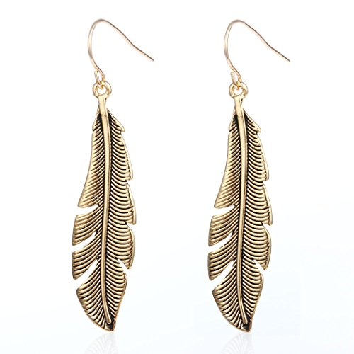 Antique Gold Silver Autumn Leaves Feather Drop Earring