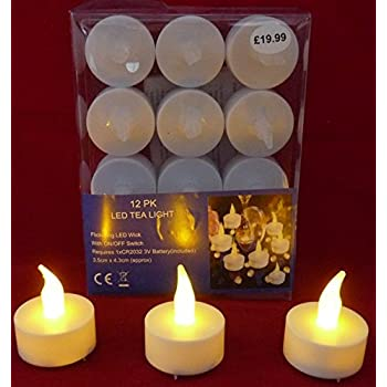 Creative Co-op 12 Battery Operated LED Tealight Candles Flameless Heatless Faux Wedding Holiday Christmas Thanksgiving Party Light