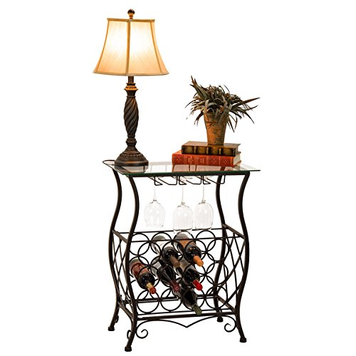 oil-rubbed-bronze-finish-wine-bottle-and-accessory-glass-top-table