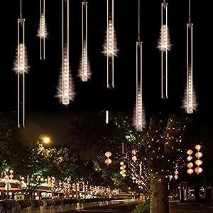 50CM Meteor Shower Rain Tubes LED Light For Christmas Wedding Garden Decoration 100-240V/US Warm White (US plug)