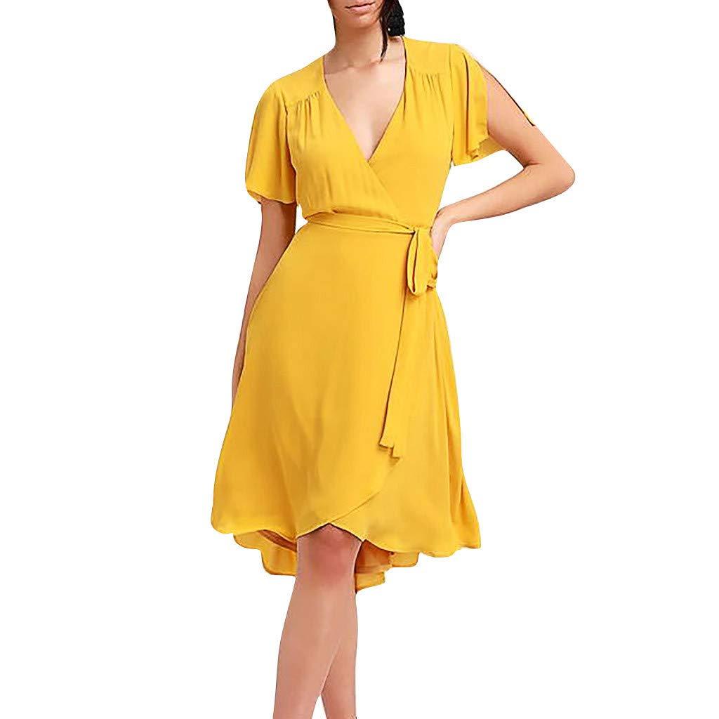 〓COOlCCI〓Women Summer V Neck Ruffle Sleeve Casual Midi Dress Lrregular Hem T-Shirts Dress with Belt Knee Length Mini Dress Yellow