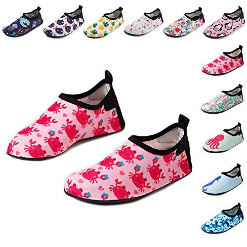 CiiaoLeoo Kids Water Shoes Quick-Dry Swim Barefoot Aqua Socks Shoes for Beach Pool Surfing Dance (5-6 M US Toddler, Crab)