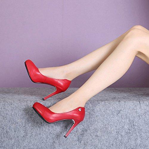 RENHONG Femmes Rouge Noir Stiletto Plat Talons Bout Pointu Travail Danse Bureau Chaussures Formelles Prom Bride Demoiselle D'honneur De Mariage Robe Pour Lady Sandales Red u84f90em