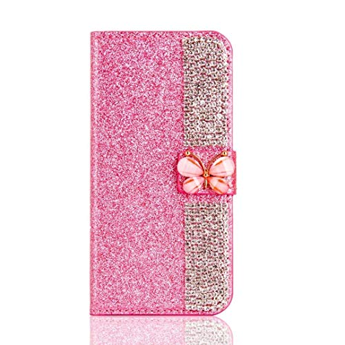 Ostop Samsung Galaxy J7 2018 Leather Wallet Case,Glitter Shiny Stylish Pink Purse Luxury Bling Diamond Credit Card Holder Slim Stand Flip Cover 3D Crystal Clear Butterfly Magnetic Closure