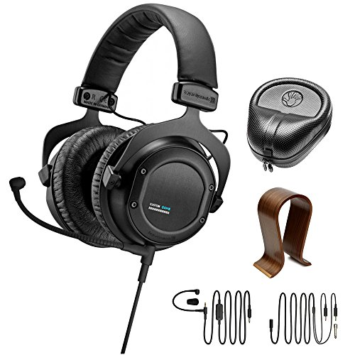 Slappa Consumer Electronics (beyerdynamic Custom Game Interactive Gaming Headset (716871) Slappa HardBody Pro Full Sized Headphone Case Black & Universal Wood Headphone Stand)