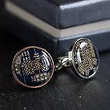 Dark Blue Circuit Board Cufflinks, unique gift for him