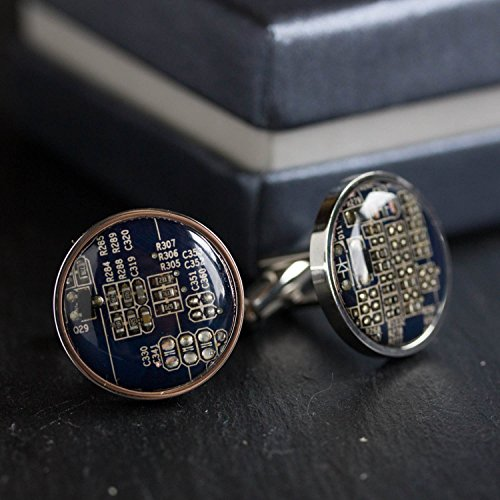 Dark Blue Circuit Board Cufflinks, unique gift for him by ReComputing