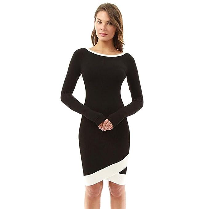 OverDose Damen Bannfarbe Kleid Damen Langarm Minikleid Büro Kleid ...
