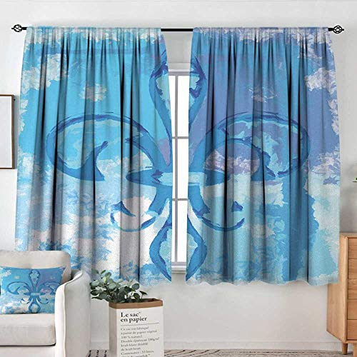 Theresa Dewey Curtains for Bedroom Fleur De Lis,Illustration of Lily Flower Like Frozen Heredic Nobility Emblem Queenly Style Print,Blue,Insulating Room Darkening Blackout Drapes 42