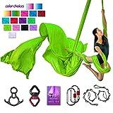 Aerial Silks Deluxe Equipment Set for Aerial Yoga, Aerial Yoga Hammock, Aerial Acrobatic,Circus Arts, Aerial Dance(L:10m W:2.8m (Grass Green)