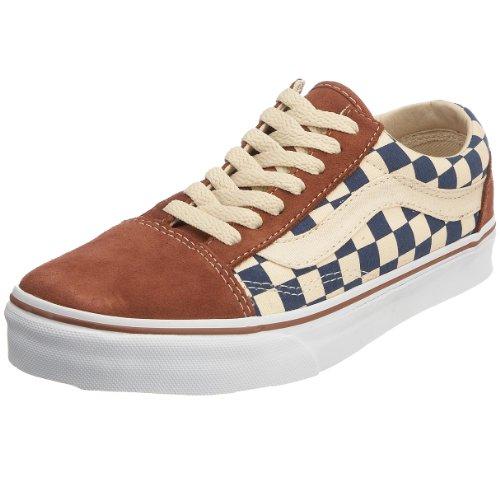 Vans Old Skool, Zapatillas Unisex Adulto Azul (Checkerboard Stv Navy/Coconut Shell)
