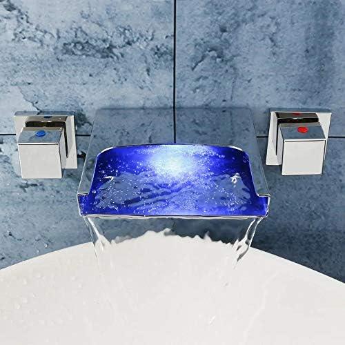 キッチン蛇口 LEDの滝の浴室の洗面台の蛇口のミキサータップウォールは、ハンドヘルドタブフィラーシャワーデュアルハンドルをマウント (色 : 銀, サイズ : ワンサイズ)