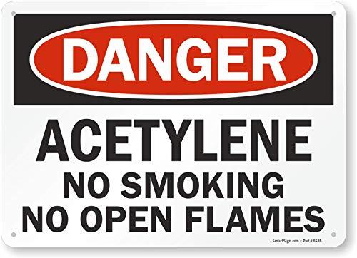 SmartSign Danger - Acetylene, No Smoking No Open Flames Sign | 10 x 14 Aluminum
