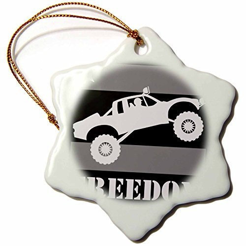 Ornaments to Paint Mark Grace FREEDOM - off road sports - Black and white image of a pre-runner race truck taking flight DUDE -