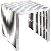 FineMod FMI9277-SILVER Zeta Stainless Steel Bench Short, Silver