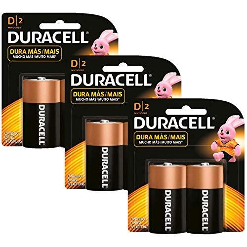Kit Duracell Duralock Pilha Alcalina D com 6 unidades