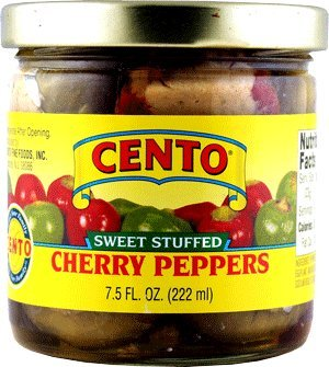 Italian Pickled Peppers - Cento Stuffed Sweet Cherry Peppers Pack of 6