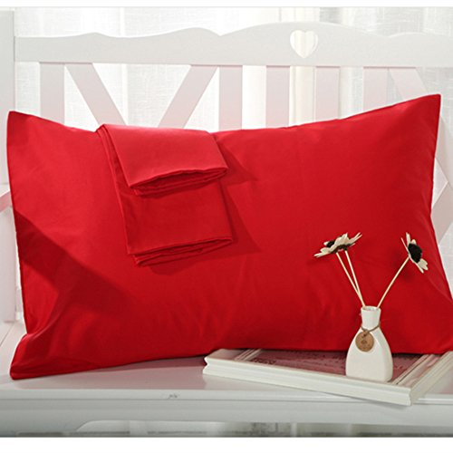 YAROO Pillow Cases Queen Size(20x30),100% Cotton 250 Thread Count,Envelope Closed,No Zipper?Set of 2,Red
