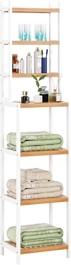 Homfa Estanterías separadas Bambú para baño con 7 Niveles (4 Grandes y 3 pequeños) (Bambú Blanco)