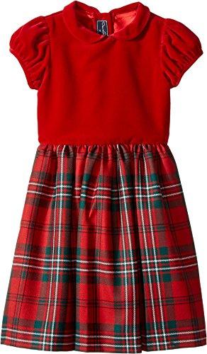 Oscar de la Renta Childrenswear Baby Girl's Holiday Plaid Wool Gathered Sleeve Dress (Toddler/Little Kids/Big Kids) Ruby Dress by Oscar de la Renta
