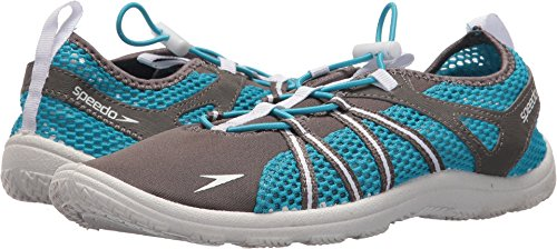 Speedo Women's Seaside Lace Water Shoes, Dark Gull Grey/White, 8 C/D US