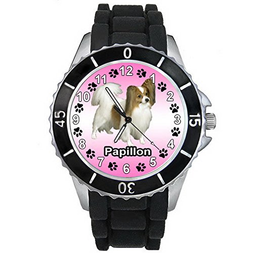 Black Papillon Watch - BMSC644 Papillon Dog Fashion Black Jelly Silicone Strap Mens Womens Wrist Watch