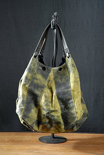 waxed-acid-green-canvas-tote-bag-black-chartreuse-tote-bag-painted-distressed-boho-canvas-bag-leathe