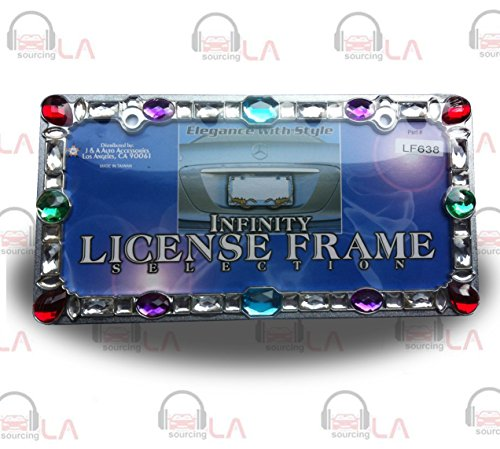 - LICENSE PLATE FRAME COLORED GEMS CHROME