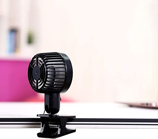 Per USB Mini Fan With Clip 3.7In Desk Fans 120/° Rotation Adjustable Wind Speed For Home Office Portable-Black