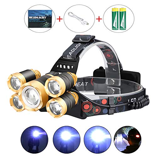 LED Headlamp Flashlight , Upgraded 12000 Lumen USB Rechargeable Headlamp, 4 Modes IPX4 Waterproof 5 Bright CREE LED Zoomable Head Lamp with Adjustable Strap for Camping Cycling Hiking Outdoor Hard Hat ()