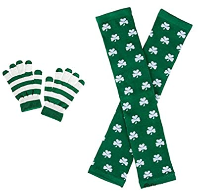 St Patricks Shamrock Leg Warmers and Green/White Striped Hand Gloves - 2 Pack