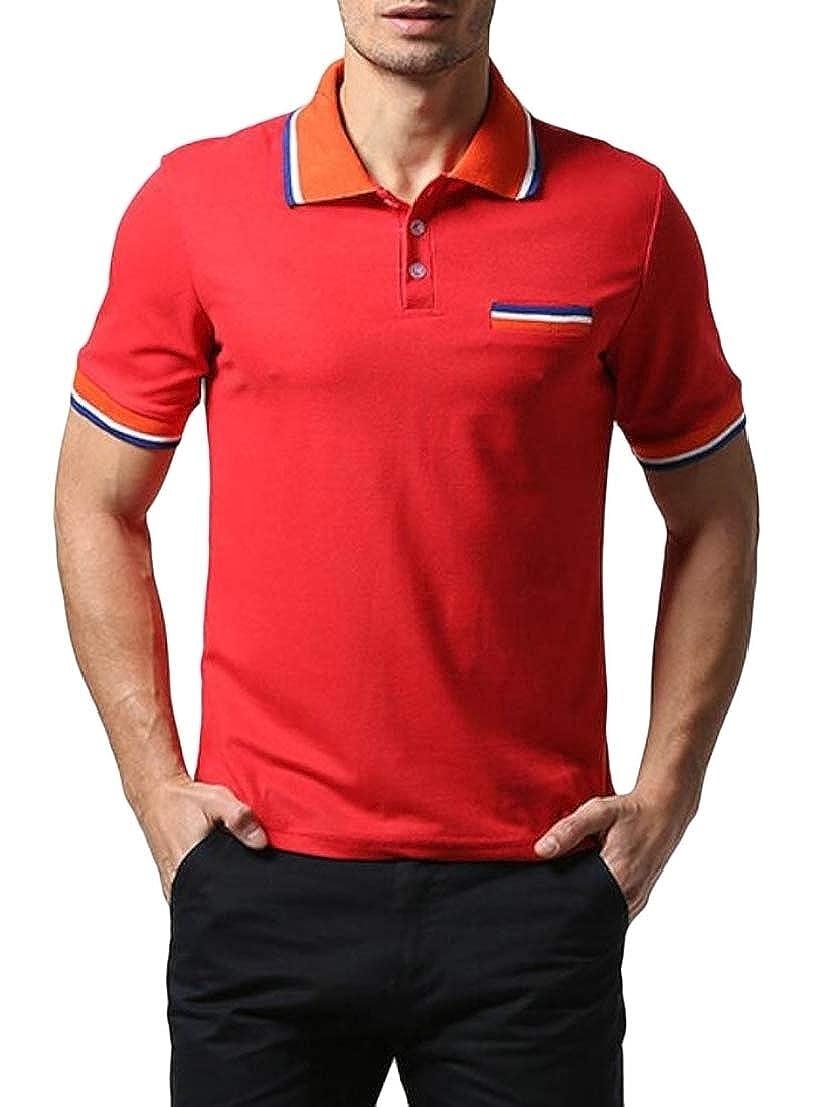 GenericMen Summer Short Sleeve Contrast Color Lapel Pocket Polo Shirt T-Shirts