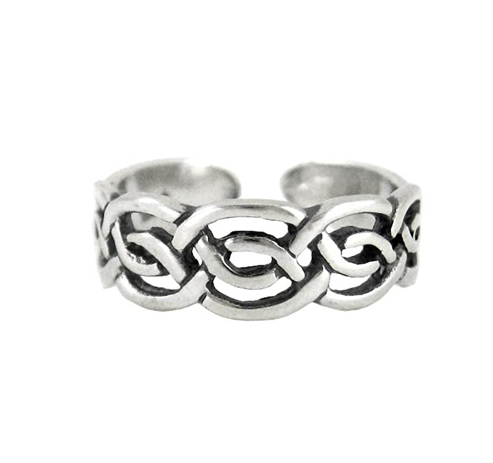 Sterling Silver Celtic Knot Open Band Adjustable Toe Ring T117