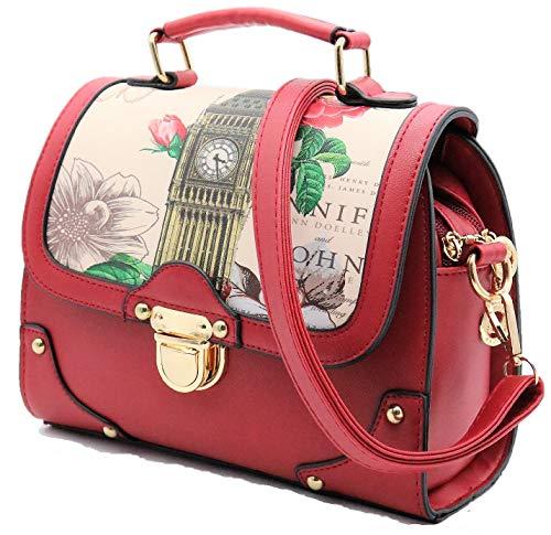 BERADONNA Retro Modern Handbag for Women with Shoulder Strap [ Two Way Bag Purse ] European British London Big Ben & Rose Flowers (Red)