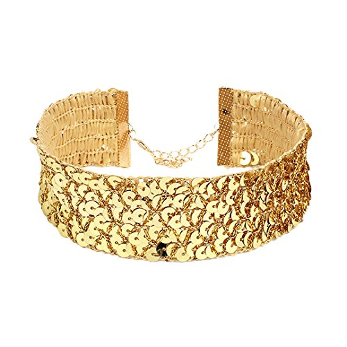 Gabrine Womens Girls Collar Choker Short Necklace Fashion Rhinestone Pearl Beads for Wedding Party Prom(3-Row) -