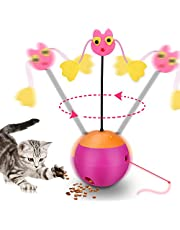 Yofun Interactive Laser Cat Toy, 3 in 1 Multi Function Automatic Spinning Cat Toy Ball Tumbler with Laser Light and Food Dispenser for Kitty and Kitten, Pink (Pink)