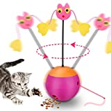 Yofun Interactive Laser Cat Toy, 3 in 1 Multi Function Automatic Spinning Cat Toy Ball Tumbler with Laser Pointer and Food Dispenser for Kitty and Kitten, Pink (Pink)