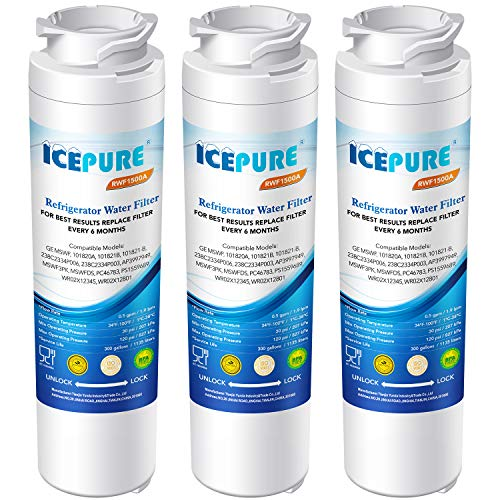 ICEPURE MSWF Refrigerator Water Filter Compatible with GE MSWF, 101820A, 101821B, RWF1500A 3 PACK