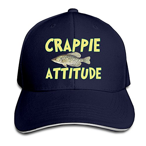 CRAPPIE ATTITUDE Adjustable Baseball Snacpback Cap Hook Size Crappie