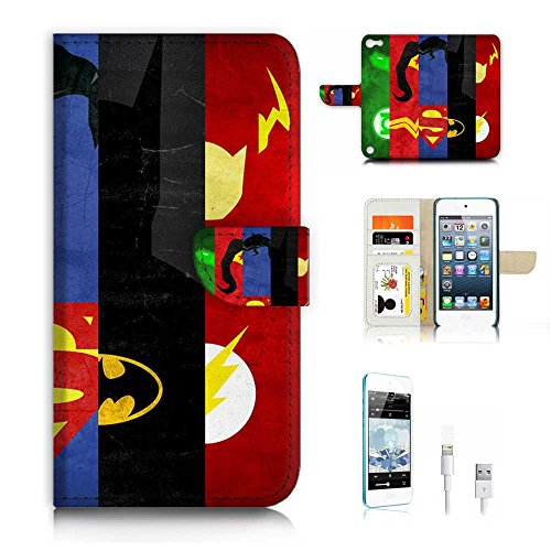 ( For ipod 5, itouch 5, touch 5 ) Flip Wallet Case Cover & Screen Protector & Charging Cable Bundle! A9539 Super Hero