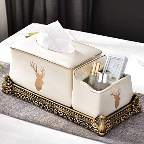 GYCOZ Haushalts-Tissue-Box Multifunktions-Fernbedienung Aufbewahrungsbox Keramik-Papierbox Servietten-Papierbox DREI Stile zur Auswahl Tissue Box Cover Gesicht (Color : A)