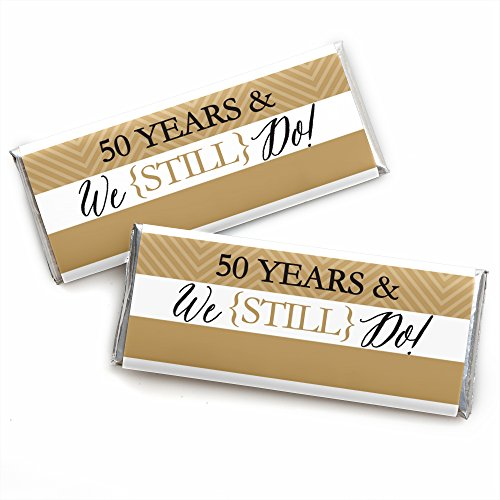 We Still Do - 50th Wedding Anniversary Party - Candy Bar Wrappers Party Favors - Set of (50th Anniversary Candy Wrappers)