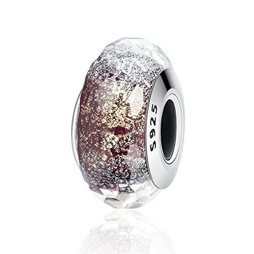 FOREVER QUEEN Murano Glass Charm, 925 Sterling Silver Core European Pattern Gray Shimmer Glass Charm Beads for Women Girls Bracelets & Bangles BJ09073 (Italian For Pandora Charms)