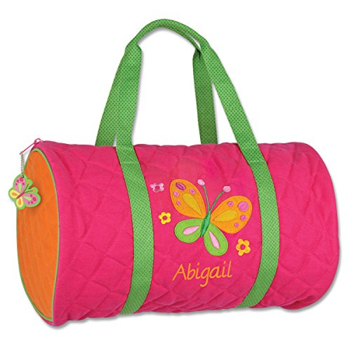 (Personalized Stephen Joseph Butterfly Quilted Duffle Bag with Embroidered Name)
