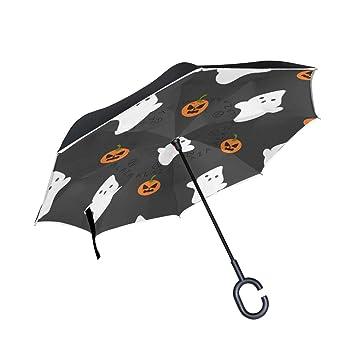 Mnsruu - Paraguas invertido con patrón de Calabaza para Halloween, Doble Capa, Paraguas Plegable
