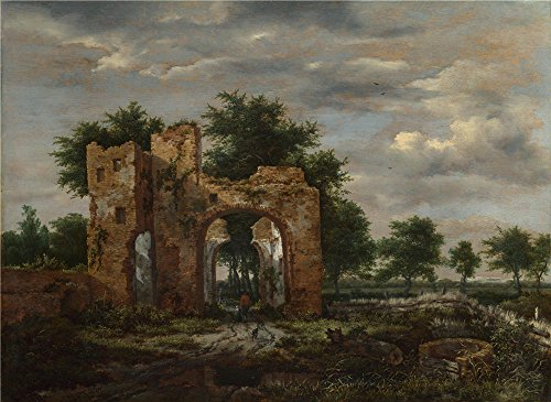 Airbrush Girly T-shirt (Oil Painting 'Jacob Van Ruisdael A Ruined Castle Gateway', 20 x 27 inch / 51 x 70 cm , on High Definition HD canvas prints is for Gifts And Foyer, Gym And Home Office Decoration, canvases)