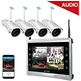 """Luowice Audio Wireless Security Camera System with 11"""" Monitor 960p 4CH Home Video Surveillance System Built in 1TB Hard Drive Indoor and Outdoor Waterproof HD CCTV Wifi Cameras with IR Night Vision"""
